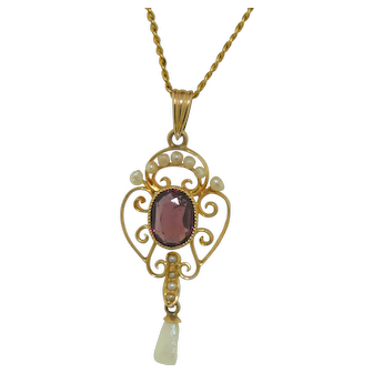 Victorian 10K Garnet and Pearl Pendant