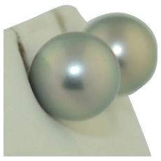 12 mm South Sea Black Pearl Stud Earring in 18K White Gold