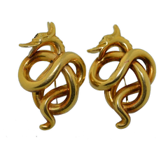 Victorian French 18K Gold Serpent - Dragon - Snake Earrings
