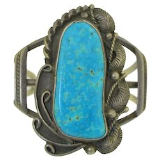 Vintage Signed Jessie Claw Navajo Sterling Silver and Turquoise Cuff Native American
