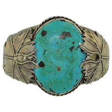 Large Sterling Silver & Turquoise Navajo Native American Cuff Bracelet 1970s