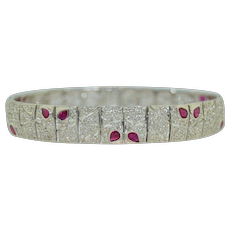 Exceptional 18K Ruby and Diamond 10.5mm Bracelet