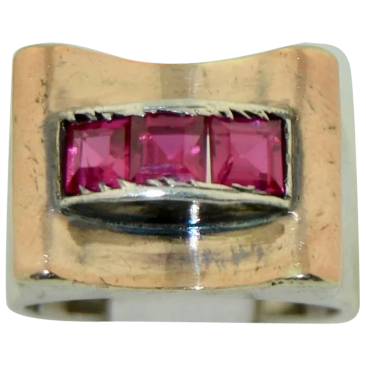French High Art Deco Ruby Sterling Silver & 18K Ring