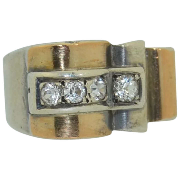 French High Art Deco Spinel Sterling Silver & 18K Ring