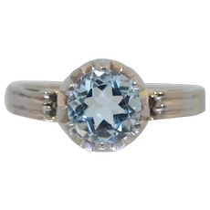 Art Deco 14K White Gold Aquamarine Solitaire Ring