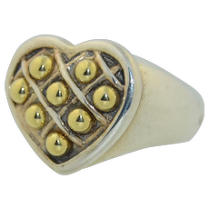 Lagos Caviar 18K & Sterling Silver Heart Ring