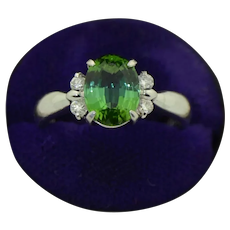 Platinum Green Tourmaline & Diamond Ring