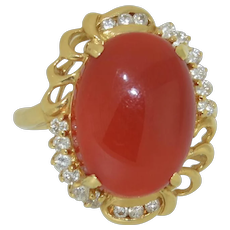 Red Coral & Diamond 18K Yellow Gold Ring