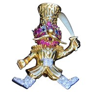 18K & Platinum Russian Dancer With Diamonds Rubies & Sapphires