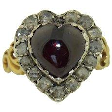 Georgian 14K & Sterling Silver Rose Cut Diamonds & Garnet Heart Engagement Ring