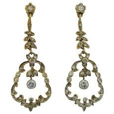 Victorian 14K Belle Epoque Diamond Drop Earrings