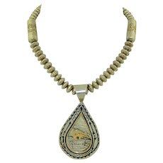 Ray Tafoya; Navajo Native American Sterling Silver & 14K Bear & Bench bead necklace