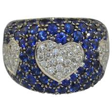 Pasquale Bruni 18K Pave' Diamond & Sapphire Triple Heart Amore Ring