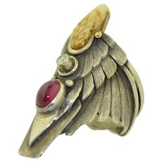 R. Winner Diamond & 2CT Ruby Eagle Ring Navajo - Native American SZ 10