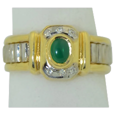 Vintage 14K Diamond & Chrysoprase Ring
