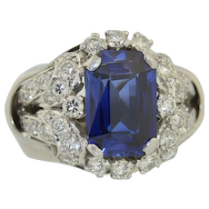 18K Diamond and Sapphire Cocktail Wedding Alternative Ring