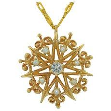 14K  0.25CTW Diamond and Pearl Pendant - Pin