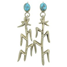 Sterling Silver Sand Cast Corn Stalk & Turquoise Earrings Native American Navajo