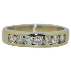 1.05 Carat Total Weight of Fine Diamonds in 14K White Gold Ring Wedding Band