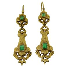 Victorian French 18K Day and Night Earrings