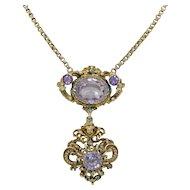 Signed Italian Renaissance Revival 800 Silver Cherub & Amethyst Necklace