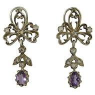 Antique Sterling Silver Amethyst & Sapphire Earrings