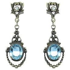 Vintage Sterling Silver Blue Topaz Paste Earrings