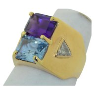 Wide Modern 14K Diamond Topaz and Amethyst Ring Signed by Birch