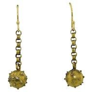 Victorian 14K & GF Sputnik Bomb Ball Drop Earrings