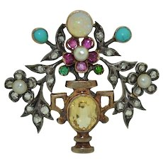 Victorian Giardinetto Pendant / Brooch Diamonds, Opal, Turquoise, Topaz 10K and Sterling