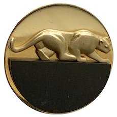 Gallen Benson 14k Panther with Ebony Pin Brooch
