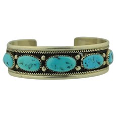 Navajo Signed R Charlie Sterling Silver & Turquoise Cuff Bracelet