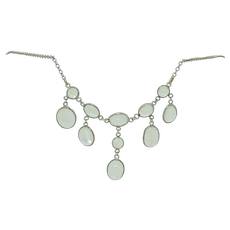 Antique Sterling Silver Moonstone Drop Necklace