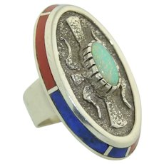 Native American Sterling Silver Opal, Lapis & Coral Ring