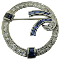 18k White Gold Diamonds & Sapphires Brooch