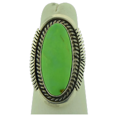 TK Emerson Signed Navajo Gaspeite Sterling Silver Ring