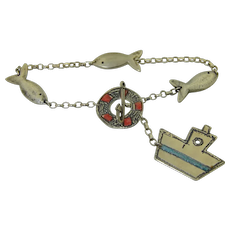 A Playful Sterling Silver Fishing Boat Toggle Bracelet