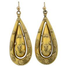 14K Victorian Articulated Drop Earrings