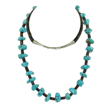 Vintage Native American Heishi & Turquoise Nugget Necklace