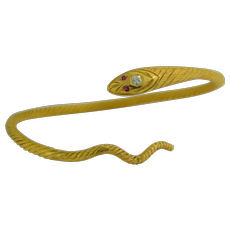 22K; 1940s Egyptian Solid Gold Snake Bypass Bangle Bracelet with Rubies & Diamond Head