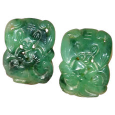 Antique Hand Carved Green Jade Bat Plaques