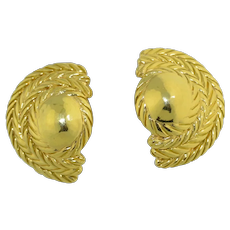 Italian Retro 18K Solid Gold Clip Earrings 10+ grams