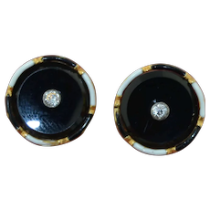 14K Art Deco Onyx Diamond & Enamel Stud Earrings