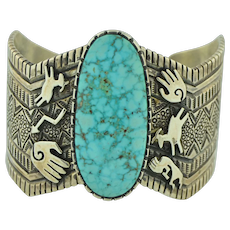 Incredibly Well Crafted Hopi Sterling Silver & Turquoise Cuff Bracelet