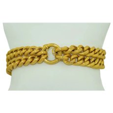 15K Yellow Gold Double Link Victorian Curb Chain Bracelet