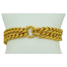15K Buttery Yellow Gold Double Link Victorian Curb Chain Bracelet