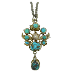 Antique Austro-Hungarian Silver, Turquoise & Pearl Pendant Necklace Brooch