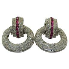 14K White Gold Diamond & Ruby Articulated Earrings