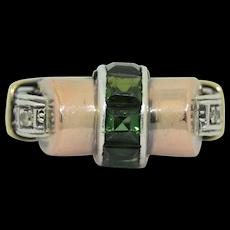 Retro 14K Rose & Yellow Gold Green Tourmaline & Diamond Tank Ring