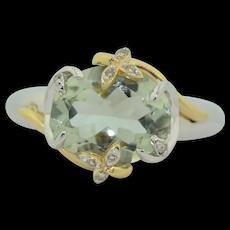 3.5 Carat Aquamarine & Diamond Ring Sterling Silver & 14K